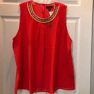 Tops - Beautiful red jeweled collar sleeveless blouse